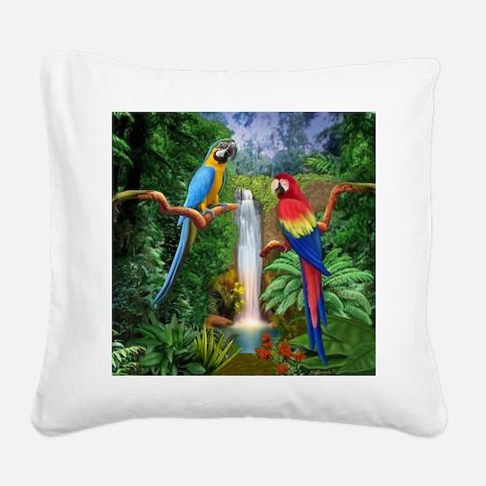 MACAW TROPICAL PARROTS Square Canvas Pillow