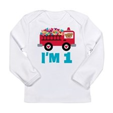 1st Birthday Firetruck Long Sleeve Infant T-Shirt