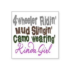 "kinda girl Square Sticker 3"" x 3"""