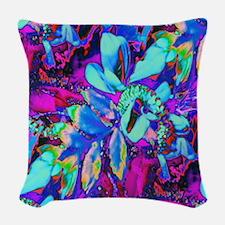 Aqua Corsage Woven Throw Pillow