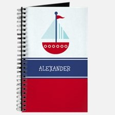 Trendy Sailboat Red/Navy Journal - Add A Name