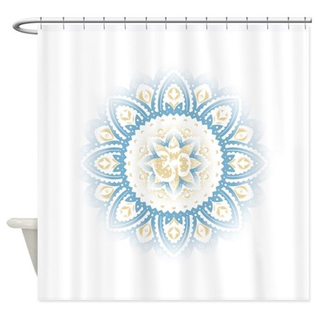 Ohm In Mandala Indian Henna Design Shower Curtain By ZenCenter