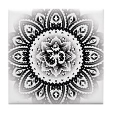 Ohm in Mandala Indian Henna Design Tile Coaster