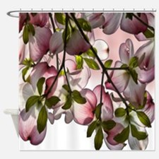 Large Dogwood Flowers - Pink Shower Curtain