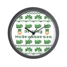 Drunky McDrunkerson St Patricks Day Wall Clock
