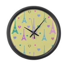 Trendy I Love Paris Large Wall Clock