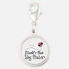 Worlds Best Big Sister Silver Round Charm