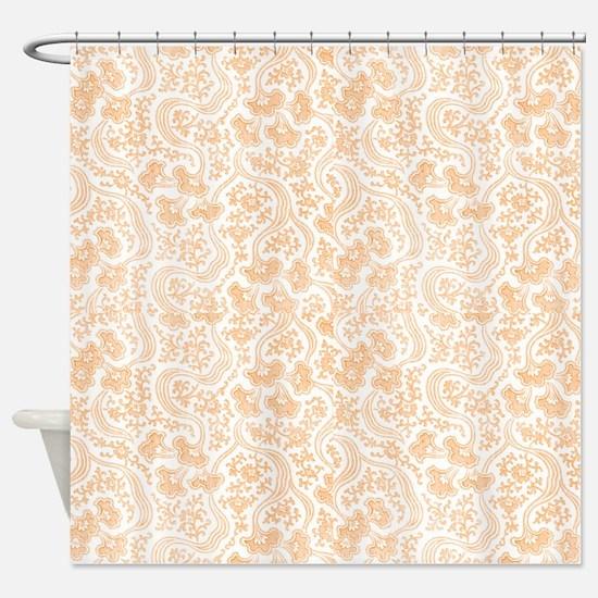 Peach Vintage Floral Shower Curtain