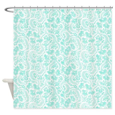 Light Teal Vintage Floral Shower Curtain