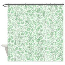Green Vintage Floral Shower Curtain