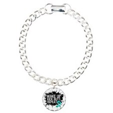 Ovarian Cancer Kick Butt Charm Bracelet, One Charm