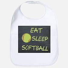 eat, sleep, softball Bib