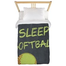 eat, sleep, softball Twin Duvet
