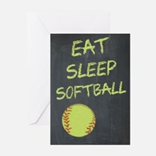 eat, sleep, softball Greeting Cards (Pk of 10)