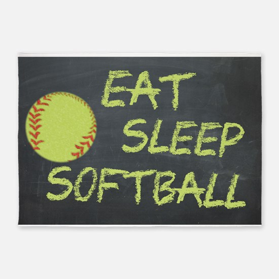 eat, sleep, softball 5'x7'Area Rug