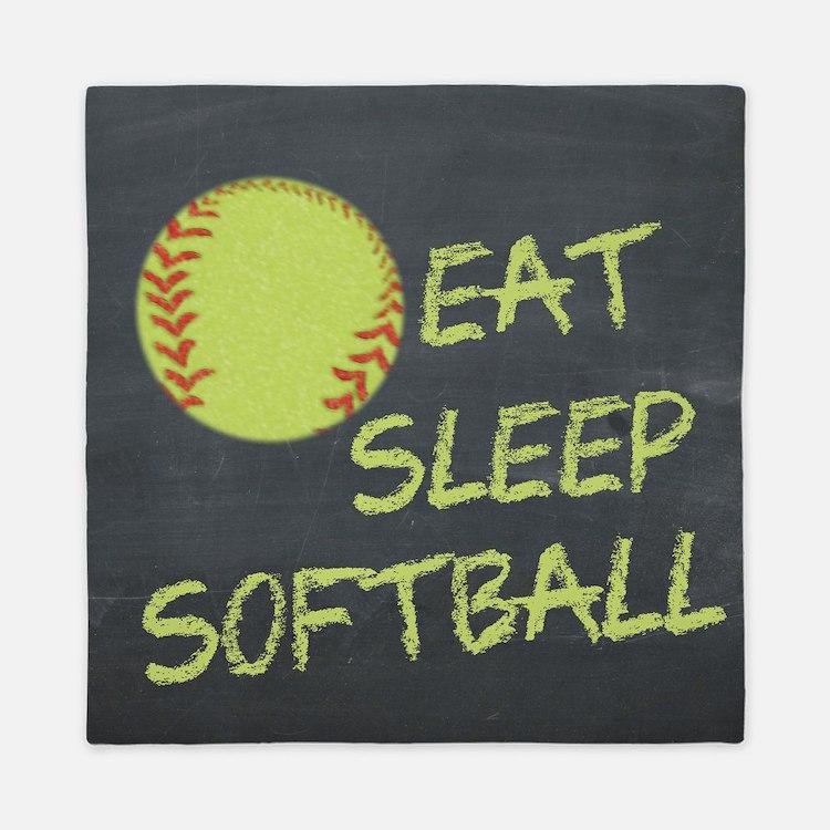 eat, sleep, softball Queen Duvet