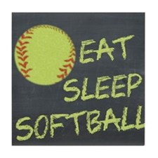 eat, sleep, softball Tile Coaster