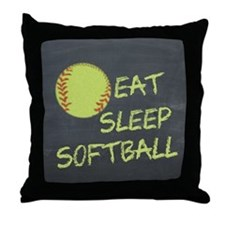 eat, sleep, softball Throw Pillow
