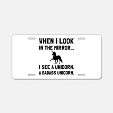 Badass Unicorn Aluminum License Plate