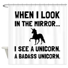 Badass Unicorn Shower Curtain