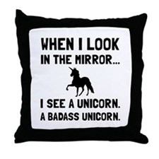 Badass Unicorn Throw Pillow