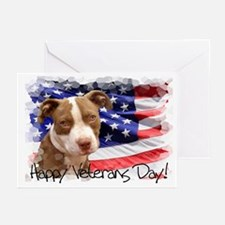 Happy Veterans Day Pitbull Dog Greeting Cards