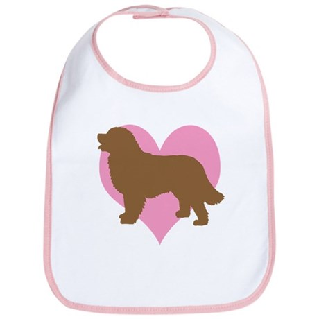 pink heart brown newf dog Bib