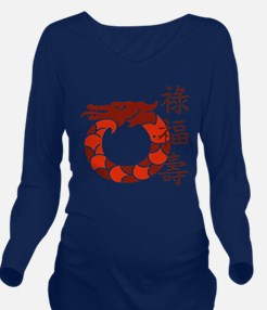 Lucky Red Dragon Long Sleeve Maternity T-Shirt