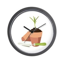 Potted Plant Gardening Wall Clock