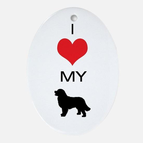 i heart my newfoundland Oval Ornament