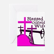 Bless Oilfield Wife- Three Crosses Greeting Cards