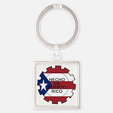 Hecho en Puerto Rico Square Keychain