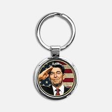 Reagan Flag Round Keychain