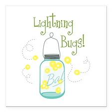 "Lightning Bugs! Square Car Magnet 3"" x 3"""