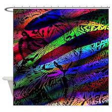 pop art tiger Shower Curtain