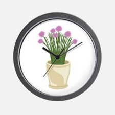 Potted Chive Plant Wall Clock