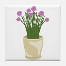 Potted Chive Plant Tile Coaster
