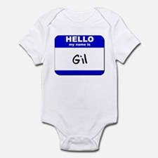 hello my name is gil  Infant Bodysuit