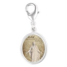 Come Unto Christ with Brown Bac Silver Oval Charm