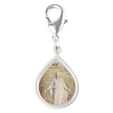 Come Unto Christ with Brown Silver Teardrop Charm