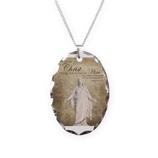 Come Unto Christ with Brown Ba Necklace Oval Charm