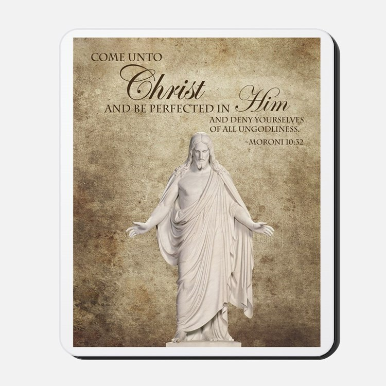 Come Unto Christ with Brown Background Mousepad