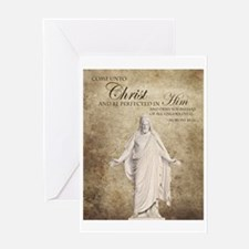Come Unto Christ with Brown Backgrou Greeting Card