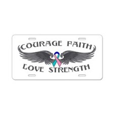 Thyroid Cancer Courage Wings Aluminum License Plat