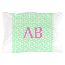 Pink Monogram Mint Floral Pattern Pillow Case
