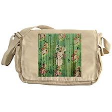 Whimsical White Deer Head Floral Pat Messenger Bag