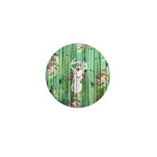 Whimsical White Deer Head Floral Patte Mini Button