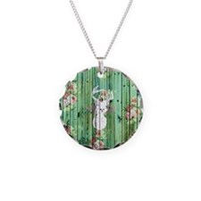 Whimsical White Deer Head Fl Necklace Circle Charm