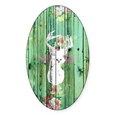 Whimsical White Deer Head Floral Pa Decal