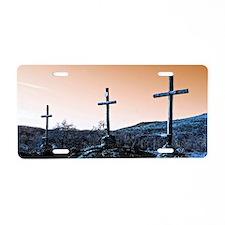 The Three Crosses Aluminum License Plate